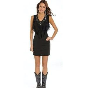 Rock & Roll Cowgirl Studded Fringe Dress Black NWT